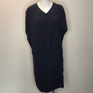 ZARA Navy Blue Drapped Gathered Mono Dress L